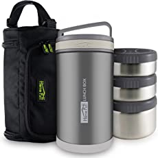 Home Puff Double Wall Vacuum Insulated Stainless Steel Lunch Box, 3-Containers, 1.7 Litre, Grey
