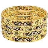 Zeneme Dancing Gold Plated Brass Bangles Jewellery for Women & Girls