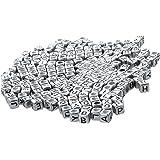 100 قطعة من مكعبات خرز الحروف الفضي
