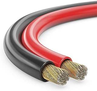 Manax Câble de haut-parleur Câble de haut-parleur Rouge/noir 2x 0,75mm², CCA Rouleau de 25 m