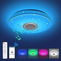 Plafonnier LED Musique Lumière Dimmable RGB , Plafonnier avec Haut-Parleur Bluetooth, Télécommande / APP Contrôle, 24W…