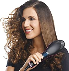 MW Mall India 2 In 1 Ceramic Hair Straightener Brush (Black, RH-Simply-A)