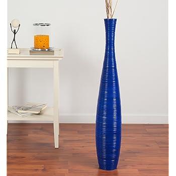 Leewadee Grand Vase Décoratif 90 cm, Bois du manguier, Bleu