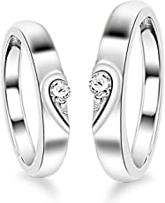 Moneekar Jewels 925 Sterling Silver 2 Pcs His And Her Heart Shape Matching Adjustable Couple Ring For Women & Men