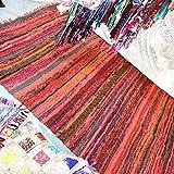Handgefertigter, dekorativer Flickenteppich, Chindi-Teppich, mehrfarbig, 150x 90cm rot