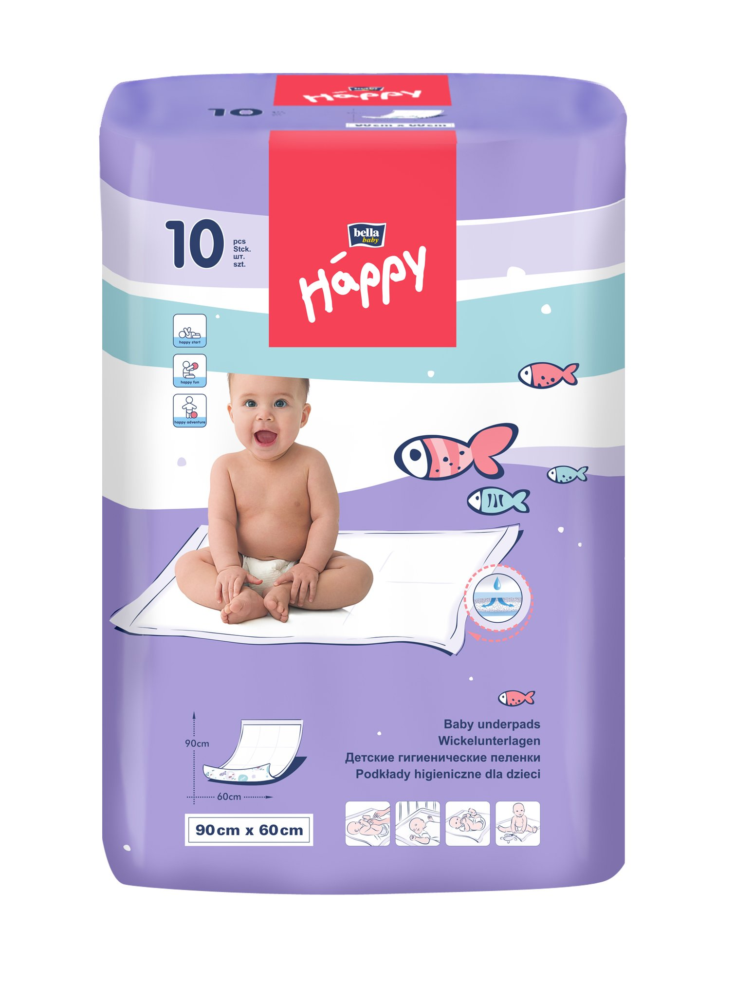 Bella bambino felice fasciatoi 90 x 60 cm, 4-Pack (4 x 10 pezzi)