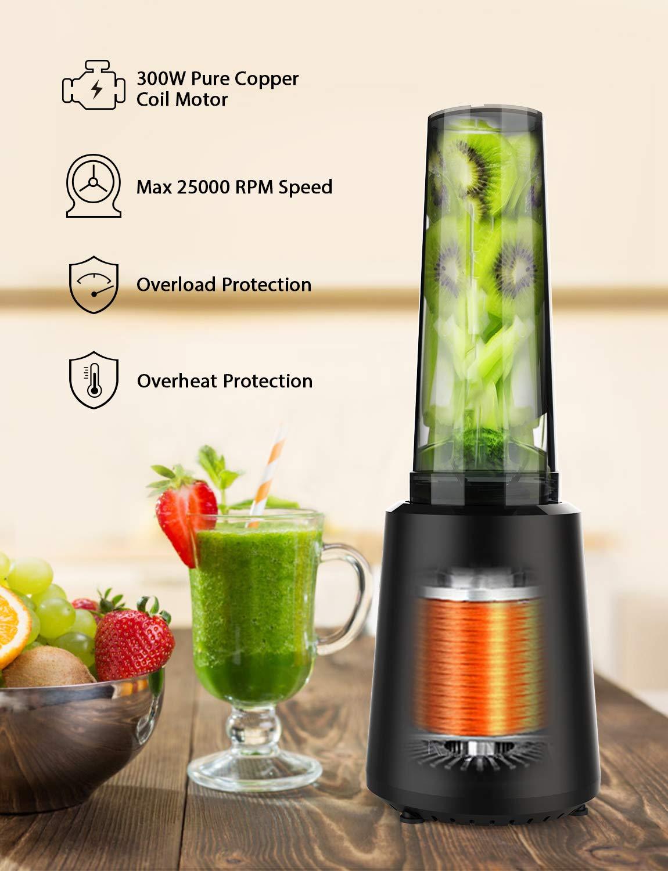 homgeek-Mixer-Smoothie-Maker-Mini-Blender-mit-Tragbarer-BPA-freie-500ML-Flasche-Tragbar-Mini-Standmixer-fr-Shake-Smoothie-Eis-Getrnk-von-Obst-und-Gemse-300-Watt-25000-UMin-Schwarz