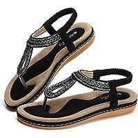 gracosy Sandales Plates Femmes, Chaussures de Ville Été à Talons Plats Tongs Claquettes avec Semelle Matelassée Bout…