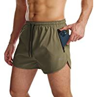 Mens Running Shorts Gym Sport Workout Shorts 2 in 1 Quick Dry Lightweight Shorts with Zipper Pockets