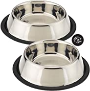 The Pets Company Stainless Steel Dog Feeding Bowl, Medium Dogs (Set of 2)