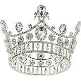 SWEETV Cake Topper Corona in Oro Rosa, Corona Barocca Regina per Donna, Accessori per Feste in Costume per Matrimonio Brithda