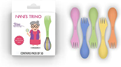 NANI Trino Spoon, Fork and Knife Set (Small, Multicolour)- Pack of 50 Pieces