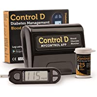 Control D Glucometer with 25 Strips | Black