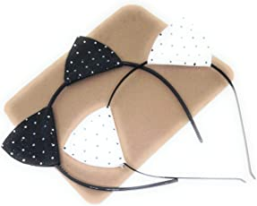 Glitter Cat Ear with Polka Dots Hairband/Headbands Hair Hoops for Daily Wearing Party & Photo Props Combo