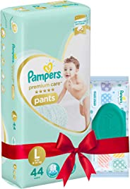 Pampers Premium Care Large Size Diapers Pants (44 Count) and Pampers Fresh Clean Baby Wipes (64 Count) Combo Pack