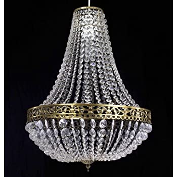 Chandelier Style Clear Acrylic Antique Brass Ceiling Light