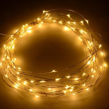 12V DC 10m/33Ft 100 Warm White Micro Drop LED String Fairy Light ...