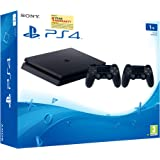 Sony PS4 1TB Slim Console with Additional Dualshock Controller (Black)