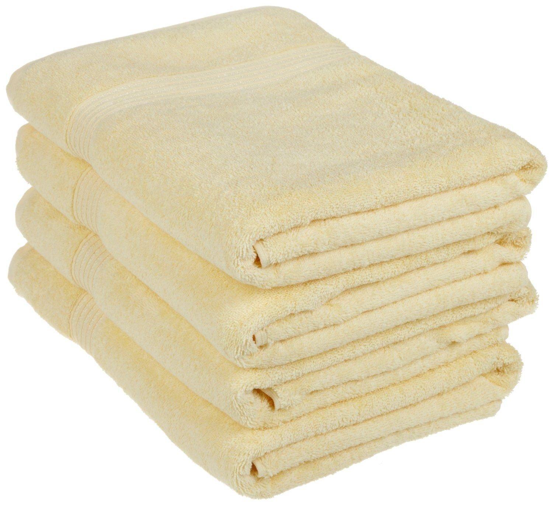 Superior - Set di asciugamani da bagno, cotone, giallo canarino, 4 pezzi