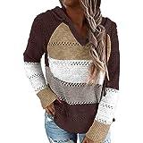 Suéter con Capucha para Mujer Sudaderas con Capucha de Punto con Cuello en V y Manga Larga con Bloques de Color a Rayas