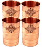 Indian Art Villa Copper Glass Tumbler, 300 ml  Brown    Set of 4 Pieces