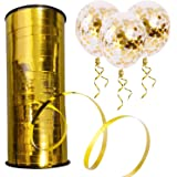 Party Propz Golden Balloon Curling Ribbons - 100Mtr For Wedding Birthday Gift Party / Balloons Decoration Items