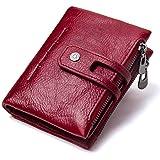 Cartera de piel auténtica para hombre, con protección RFID, formato vertical, con caja de regalo, color marrón, rojo (Rojo) -