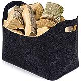 Cesta de fieltro para leña, bolsa de fieltro grande esta para leña de chimencesta de la compra, cesta de fieltro, grande gris