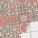 creatisto Sticker-Fliesen Dekor | Fliesen-Klebefolie - selbsklebend - Fliesenspiegel aufpeppen | Kachel-Aufkleber Zum renovieren von Bad und Küche | 20x20 cm - Motiv Mexican Tiles - 27 Stück
