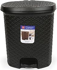 Cello Classic Plastic Pedal Dustbin, 6 Liters, Black