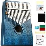 Kalimba Piano à pouce 17 lamelles Instrument africain Corps en acajou Cadeau idéal pour un café à la maison (Bleu)