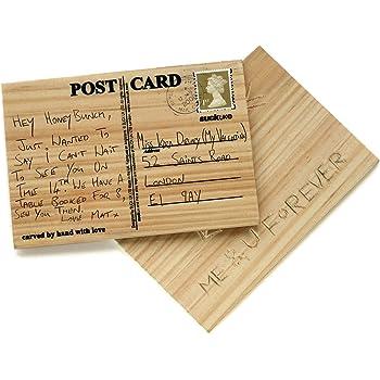 Holz postkarte gl ckwunschkarte individuell geschnitzte - Holz beschriften ...