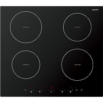 Viesta IKF4Z hochwertiges 4-Zonen Induktionskochfeld 7000W mit 9 Kochstufen Überhitzungsschutz Timer und Sensor-Touch-Display - Kochfeld autark + Reinigungsschaber GRATIS
