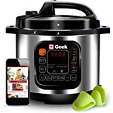 Geek Robocook Automatic 5 Litre Electric Pressure Cooker with 11 in 1 Function, Feather Touch Preset Menu, Stainless Steel Po