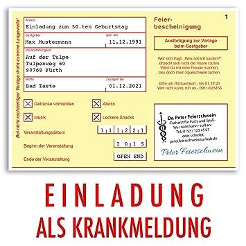 Einladungskarten Geburtstag (10 Stück) Krankschreibung Krankmeldung  Krankenschein Geburtstagskarten Geburtstagseinladungen Karte Einladungen  Gestalten ...