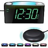 Vibrerande Väckarklocka med Sängskakare, Bordsklocka för Stora Sovhyttar, Döva, Stor LED-Skärm med Dimmer | Nattljus | 2 USB-