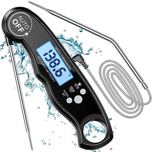 Cocoda Termometro Cucina Digitale, Lettura Istantanea LCD Termometro Forno con 2 Acciaio Inossidabile Sonde & Filo Lungo & Magnete, Temperatura Preimpostata per BBQ Grill Pasticceria