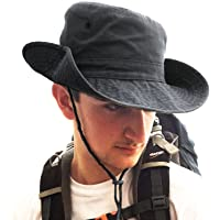 TOSKATOK® UPF 50+ Unisex Safari Outback Australian Style Cotton Bush Hat with Wide Brim, Chin Strap, Side Press Studs…