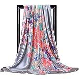 Hidouyal - Foulard grande, 90 x 90 cm, in raso, motivo floreale, multicolore