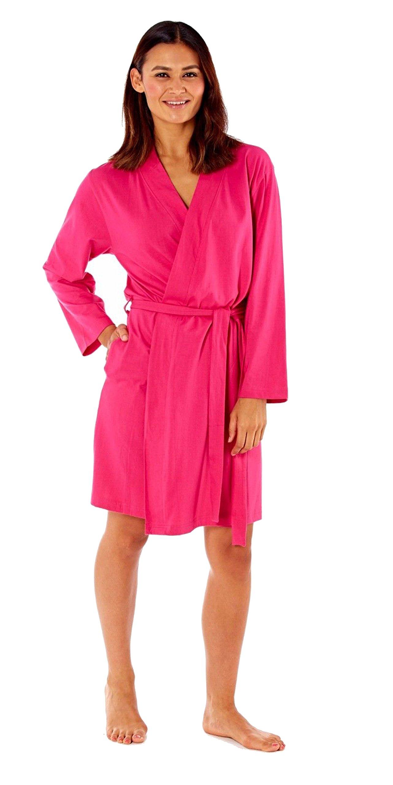 Hot Pink Ladies Dressing Gown Summer Cotton Lightweight Robe- UK 8 ...