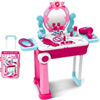 Popsugar 2 in 1 Fashion Beauty Set Trolly with Light and Music Toy for Kids, Pink