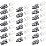 WJUAN 20 Piezas de Conectores RJ45, Kit Conectores Ethernet con 20 Piezas Cubierta Protectora Gris, Conectores RJ45 Cat6 para