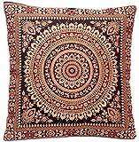 Schwarz Indische Seide Deko Kissenbezüge 40 cm x 40 cm, Extravaganten Design für Sofa & Bett Dekokissen, Kissenhülle aus Indien. ***Angebot nur für kurze Zeit gültig***