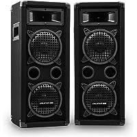 auna Pro PW - passiver PA-Lautsprecher PA-Box, Lautsprecher-Paar, schwarz, Horn-Mitteltöner, 2 x Piezo-Hochtöner,zwei 3…