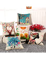 AEROHAVEN™ Set of 5 Multi Colored Decorative Hand Made Jute/Cotton Cushion Covers (16 x 16 Inch)