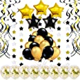 Decoracion Fiesta Oro -46 Piezas- Globos Confeti, Remolinos Colgantes, Guirnalda de Estrellas, Globos Negro Dorado para Cumpl