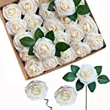 ACDE Fiori Artificiali, Rosa Artificiali 25 Pezzi Rose Finte Schiuma Aspetto Reale con Foglia e Gambo Regolabile per DIY Matr