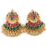 AFJ GOLD Copper Gold Plated Ruby Earrings For Women & Girls