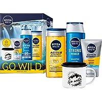 NIVEA MEN Go Wild Active Set, Geschenkset mit energiespendenden Pflegeprodukten, erfrischendes Pflegeset mit Shampoo…