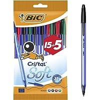 BIC Penne Blu a Sfera, Cristal Soft, Colori Assortiti, Punta Media (1.2 mm), Confezione 15+5 Penne, Fornitura per…